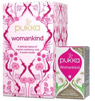 Image showing boxes of Pukka Womankind Herbal Tea and Supplement.