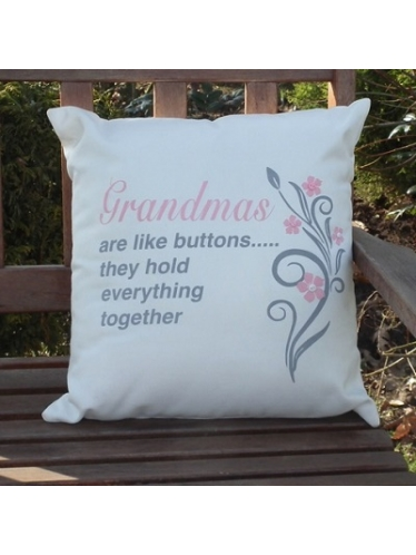 Image showing Cushion 'For Her' with the quote 'Grandmas are like buttons..they hold everything together'.