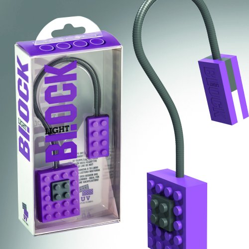 Image of purple Block Book Light in and out of box.