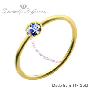 Karma Se7en 14ct Gold Nose Ring & Blue Crystal