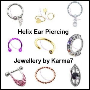 Image featuring a selection of Karma7 Helix Ear Piercing Jewellery