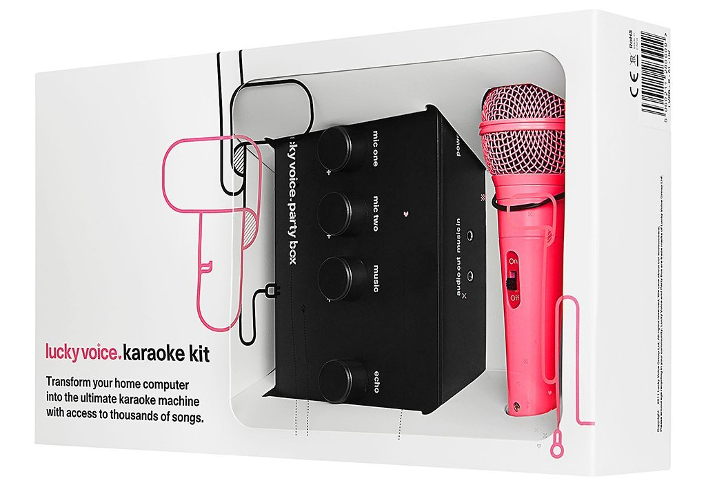 Image showing Lucky Voice Karaoke Kit with Pink Mic in Box