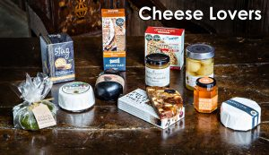 Festive Food Gifts- Image showing contents of Cheese Lovers Hamper