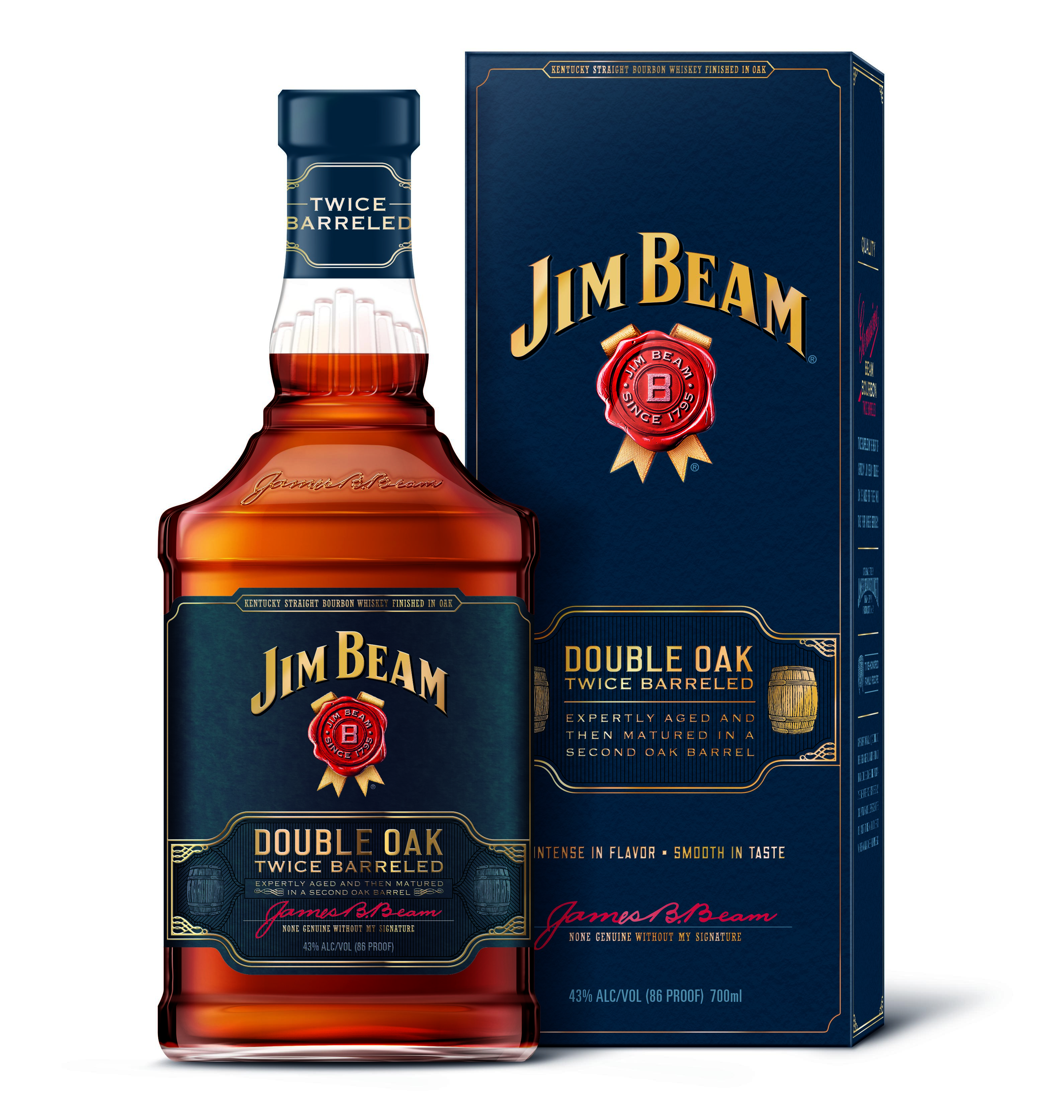 Bottle and box of Jim Beam Double Oak Bourbon