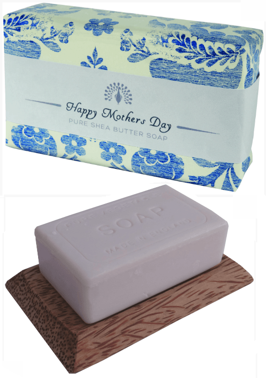 Mother's Day Gifts - Image showing English Soap Company Mother's Day Soap in wrapper and on soap tray.