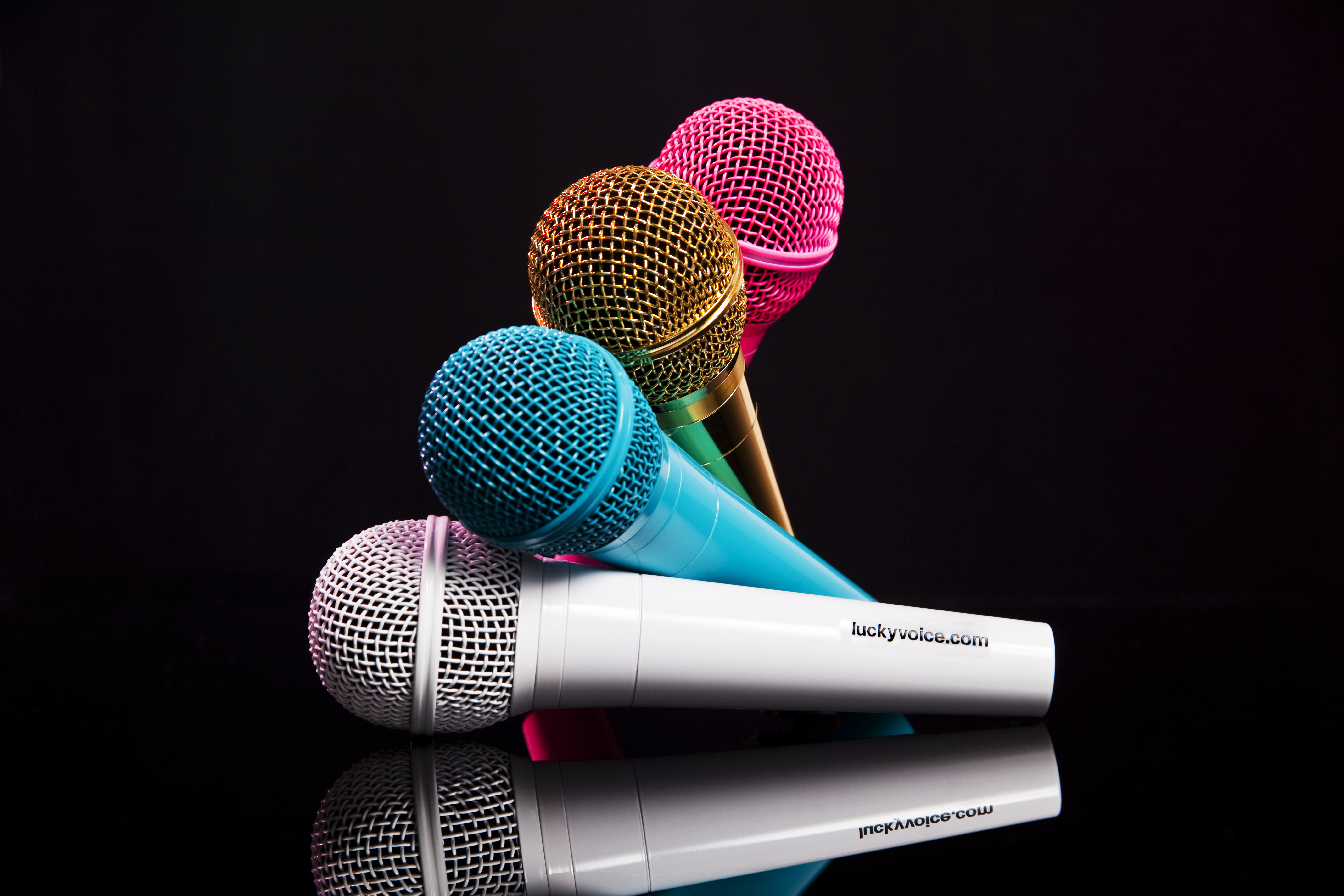 Mother's Day Deal - Image showing Lucky Voice Microphones in 4 Colours