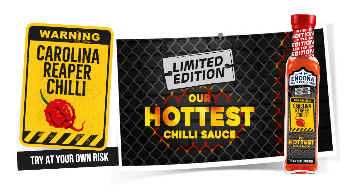 Image showing Encona Carolina Reaper Chilli Sauce and warning signs