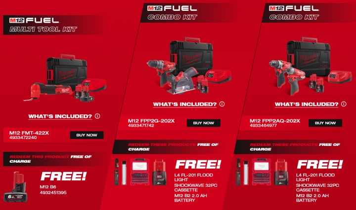 Free Milwaukee Products when you buy selected Milwaukee Power Tools!